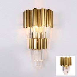 gold wall lighting NZ - Modern crystal glass tube golden LED wall lamp light sconce hotel foyer bathroom bedroom bedside big gold wall light lamp LED