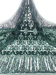 Discount african velvet sequins 2020 High Quality African Lace Fabric with Sequins French Velvet Lace Fabric Nigerian Fabrics For Evening Dress CDA4