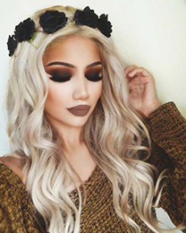 ash blonde hair 2019 - Charming Ash Blonde Wig Long Wavy Ombre Blonde Glueless Lace Front Wigs Dark Roots Synthetic Hair Replacement Sexy Wigs