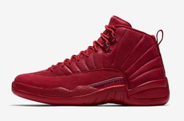 Real Authentic Shoes UK - 2018 Authentic Air 12 Bulls Gym Red Black Men Basketball Shoes Gym Red Real Carbon Fiber Sports Sneakers 130690-601 With Original Box 40-47