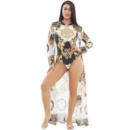 Vente en gros 2019 printemps et en été les femmes maillots de bain, ensembles de maillots de bain de plage d'impression de beauté, beaux ensembles de vacances de deux pièces de dame