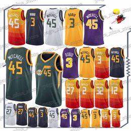 Earned Edition basketbal jerseys 45 Donovan Mitchell 3 Ricky Rubio t shirt  24 Grayson Allen 27 Rudy Gobert 2 Joe Ingles jersey 52e6ee77c