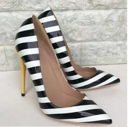 Striped Bottom Dress Australia - New type black white striped women's high heel shoes Fine heel Cusp Single shoes dress shoes 8cm 12cm 10cm dance red bottom large size 44