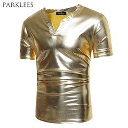 Metallic Gold Shirt Australia - Shiny Gold Coated Metallic T Shirt Men 2017 Caual V Neck Men T-shirt Night Club T Shirts Slim Hip Hop Top Tee Shirt Homme