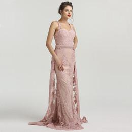 2018 affascinante blush rosa pizzo abiti da ballo lunghi cristalli perline sirena abiti da sera treno staccabile plus size vestito da festa spedizione gratuita