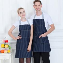 $enCountryForm.capitalKeyWord NZ - Denim Stripe Apron With Pocket Women Men Kitchen Hotel Coffee Shop Bakery Chef Waiter Uniform Cleaning Baking Work Aprons