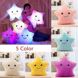 popular kids dolls 2019 - 40*35CM 1pcs Stuffed Dolls LED Stars Light Colorful Pillows Popular Plush Toys for Kids cheap popular kids dolls