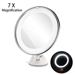 light suction cups UK - RUIMIO 7X Magnifying Makeup Mirror Cosmetic LED Locking Suction Cup Bright Diffused Light 360 Degree Rotating Cosmetic Makeup T200114
