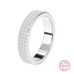 Sweet Cute Simple Fashion Jewelry Real 925 Sterling Silver Three Rows Tiny White Sapphire CZ Diamond Gemstones Women Wedding Band Ring Gift on Sale