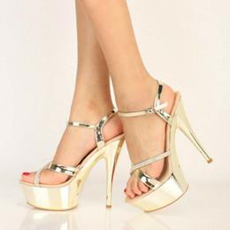 $enCountryForm.capitalKeyWord Australia - 15cm white gold prom dress shoes woman designer high heel shoes summer slides bridal wedding shoes size 34 to 40
