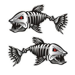 2 Шт. Прочный Мода Vinly Skeleton Fish Bones Наклейки Автомобиля Мотоцикл Стены Окна Наклейки