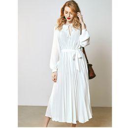 $enCountryForm.capitalKeyWord Canada - Spring and summer new women's V-neck high waist white very fairy French niche belt dress slim long paragraph Princess sleeve pleated skirt