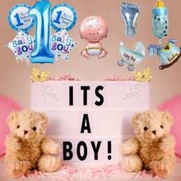 polymer clay babies UK - 5 Pcs Baby 1st Balloons Toys Set Pink Blue Number Foil Air Balls Boy Girl Toy Decorations For Kids Supplies