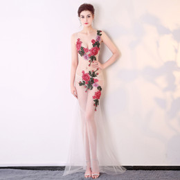 $enCountryForm.capitalKeyWord Australia - 2019 New Sexy perspective decoration body bag hip lace peony flower night club club show female anchor costume costume long dress