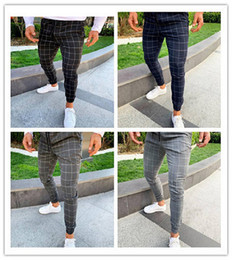 Wholesale male trousers new arrivals for sale – dress Fashion Plaid Mens Designer Pants Printed Male Casual Drawstring Pencil Pants Casual Mens Trousers New Arrival