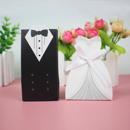 Discount laser cut bride groom - 30 50pcs Laser Cut Bride Groom Tuxedo Dress Gown Gift Boxes Wedding Candy Box Paper Packaging Baby Shower Chocolate Box