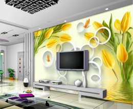 painting tulips 2019 - Modern Custom 3D Wallpaper Yellow tulip reflection 3D stereo Wallpaper Mural Painting For Living Room TV background wall