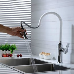 Contemporary White Kitchens NZ - Pull out Faucet White & Chrome Plated Brass Kitchen Sink Mixer Tap Cold And Hot Single Hole Rotation Deck mounted
