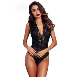 transparent short wear UK - Women Jumpsuits Women Black Hollow Out Lace Bodysuit Sexy Sleeveless V Neck Body Polyester Female Club Wear Skinny Transparent Bodysuits