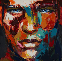 Square Figure Australia - Hand painted Palette knife painting portrait Palette knife Francoise Nielly Face Abstract Oil painting Impasto figure on canvas Decor FN66