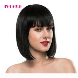 short straight wigs bangs NZ - Short Bob Human Hair Ful Lace Wigs With Bangs Brazilian Virgin Hair Glueless Lace Front Human Hair Wig Silky Straight Lace Wig