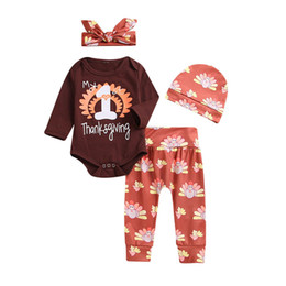 $enCountryForm.capitalKeyWord NZ - good quality Kids Winter Clothes 4PCS Thanksgiving Baby Letter Print Romper+Pants+Headbands+Hat Set Outfit conjunto infantil