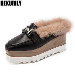 white mule slippers NZ - Shoes Women Rabbit Fur Wedges Mules Metal decoration Slides Sandals Ladies Platform Slippers Slip on Zapatos mujer Black White