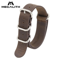 $enCountryForm.capitalKeyWord NZ - Megalith Top Brand Genuine Leather Watches Bands For Men Women Nato Strap 18mm 20mm 22mm Military Sports Leather Watch Strap G3 Y19070902