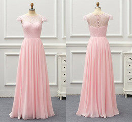 d8512353c97 Elegant Light Pink Cheap Long Bridesmaid Dresses Sheer Jewel Neck Lace  Hollow Back Wedding Guest Prom Formal party Dress Wholesale Price
