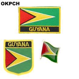 flag patches for clothes NZ - Guyana flag patch badge 3pcs a Set Patches for Clothing DIY Decoration PT0071-3