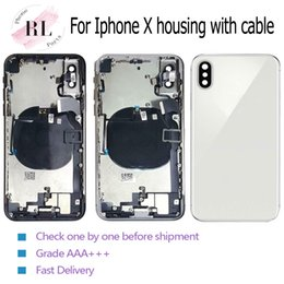 iphone rear chassis Australia - 5PCS back cover for iPhone X half frame chassis bezel for the rear battery body cover housing with Flex Cable
