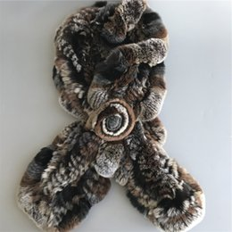 Womens Winter Fur Scarves Australia - Womens Real Rex Rabbit Fur soft Scarves Winter w flower Warm Scarf Neck Warmer