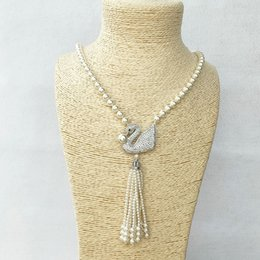 pearl beads necklaces wholesale Canada - 4 pcs Swan charm Pendant CZ Micro pave Connector,Natural Shell Pearl Beads Chain tassels Women Jewelry Necklace NK508