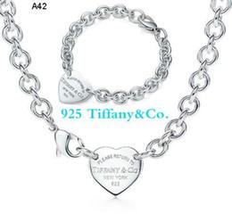 f77071eb0ecb Nuevo 2019 Nombre tiffany925 Corazón de plata collar y pulsera con caja Envío  gratis