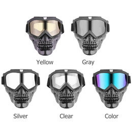 $enCountryForm.capitalKeyWord Australia - VODOOL Motorcyle Skull Modular Mask Detachable Goggles Motorcoss Glasses for Open Face Motorcycle Half Helmet