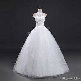 $enCountryForm.capitalKeyWord Australia - New White Ivory Floor Length Halter Applique Beads Wedding Dress Bridal Gown Custom Plus Size lace Up Back For Wedding Formal Occasion