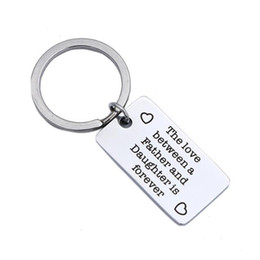 $enCountryForm.capitalKeyWord UK - Square Pendant Key Ring ' the love between a father and daughter ' custom made Stainless Steel Keychain Key ring Birthday Gifts
