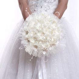 $enCountryForm.capitalKeyWord Australia - New Arrival Wedding Bouquet Flowers With Pearls Beading Artificial Bridal Bouquet Milk White Silk Ribbon Beautiful Bouquet Cheap F0569