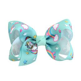 $enCountryForm.capitalKeyWord UK - 12 colors Baby girls Rainbow Unicorn bow hairclip 8cm colorful ribbon hair clip baby Hair accessories ST424