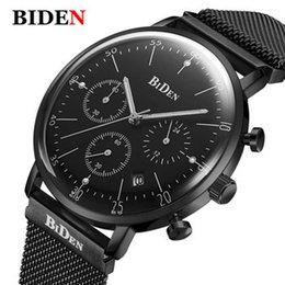 Ingrosso Biden 0052 3 Mens Top Quartz Watch Uomo Casual Steel Slim Mesh regolabile con cinturino sportivo impermeabile