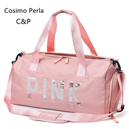 $enCountryForm.capitalKeyWord NZ - Pink Sequins Travel Bag Dry Wet Separation Waterproof Short Trip Travel Bags with Shoe Compartment Big Gym Yoga Luggage Duffel