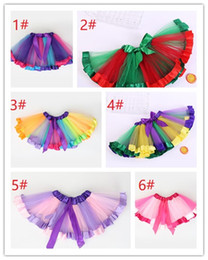 tutu 5t NZ - Little Girls Layered Rainbow Tutu Skirts Outfits for Birthday Kids Party k0603