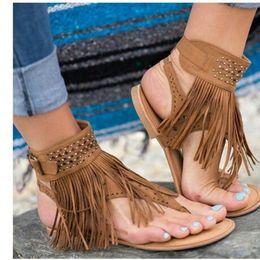Trend Sandals Australia - Explosion Trend Fashion Brand Deigner Roman Style tassels open toe rhinestone flip flops flat sandals casual women's shoes large