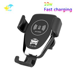 Chinese  10w Wireless Car Charger Gravity Fast Charging Pad Air Vent Phone Holder For iPhone XR XS X Samsung S9 S10 huawei mate20 manufacturers