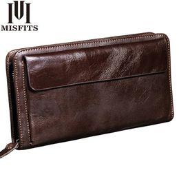 Long Male Wallet Zipper Australia - Misfits New Men Wallet Genuine Leather Brand Vintage Organizer Wallets Male Clutch Bag Zipper Coin Purse Cell Phone Long Purse Y19052104