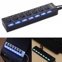 $enCountryForm.capitalKeyWord Australia - 7 Ports usb hub LED USB High Speed 480 Mbps Adapter USB Hub With Power on off Switch For PC Laptop Computer PC Laptop With ON OF