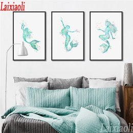$enCountryForm.capitalKeyWord Australia - 3 pcs Hotel Watercolor DIY Diamond Painting Cross Stitch Kits Nordic Style Paintings 5D Diamonds Embroidery Mermaid Full Mosaic