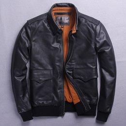 US Aviator Air Force Pilot Flying Bomber Genuine Leather Black Jacket for Men
