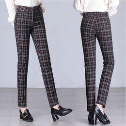 $enCountryForm.capitalKeyWord Australia - 2018 Autumn Winter European Style Women Trousers Plaid Wool&Blends Ladies Vintage England Capris Plus Size S- 6XL Harem Pants