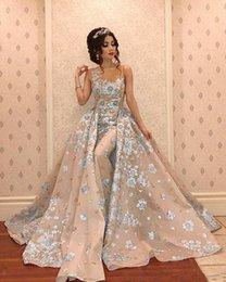 Toptan satış 2020 Yeni Arapça Lüks Mermaid Abiye Giyim ile Ayrılabilir Tren Boncuk Dantel Aplike Balo Abiye Şık Örgün Parti Pageant Elbise 713